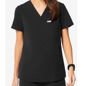 Figs Black One Pocket Scrub Top